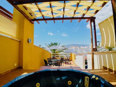 Photo for OFFERS SUMMER 2019 !! Cute DUPLEX next to the SEA, JACUZZI, TERRACE and SWIMMING POOL!