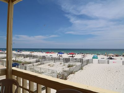 Photo for RENOVATED Sunrise Village 110 ~ GULF FRONT private balcony, right on the beach, near local hot spots