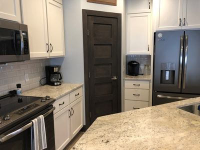 Kitchen with all new appliances and a Keurig and regular coffee pot