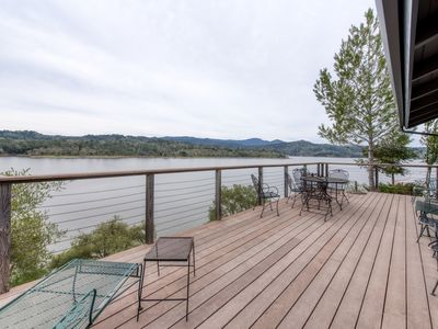 Photo for Secluded waterfront home w/ fireplace, large deck, & views of Lake Nacimiento!