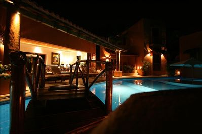 Night view of Pool and Main Living Area