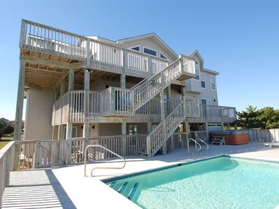 Photo for ONLY 300 feet to the beach! Private Pool and Hot Tub! Ocean views! 6th sleeping area in den