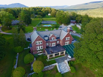 An aerial view of the magnificent Wilburton Mansion and 30 acre hilltop estate.