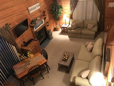 Big open living room with comfy seating