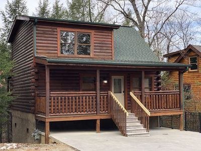 Photo for Real Log Cabin w/ Secluded Hot Tub, Cozy Loft, WiFi & Close to All Attractions!