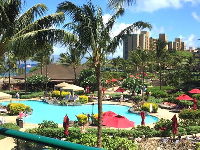 View from lanai, Overlooks Formal Pool out to Ocean and Molokai