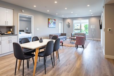 Large living room, open kitchen and dining nook.