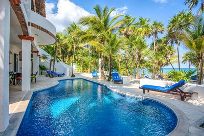 You have arrived at our Akumal Beachfront Villa with 4BR, 4BA, pool and beach.