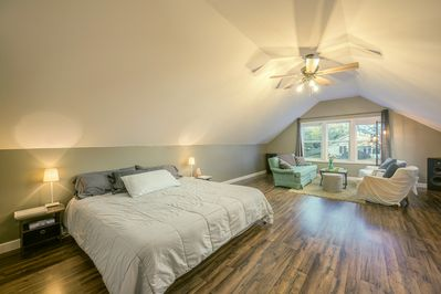 Lots of daylight, king bed  and open space in the newly remodeled master suite.