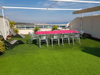 Photo for Fantastic penthouse with two terraces overlooking the sea, air-conditioned