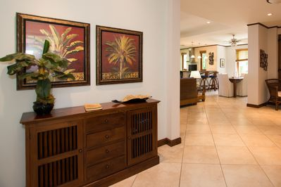 As you enter the home.  Note the open floor plan and locally made furniture