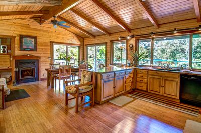 kitchen, dining and fireplace