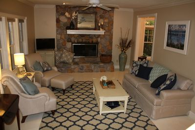 Living Room with wood burning fire place