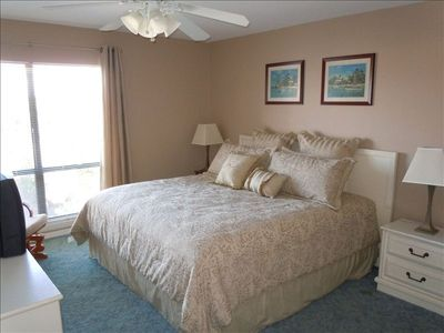 "Master Bedroom has King-size Bed, 27"" HDTV, walk-in closet, 2nd vanity"