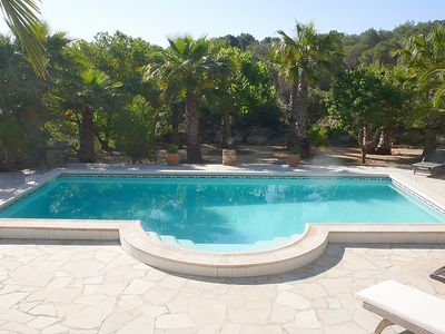 Pool terrace and surrounding countryside