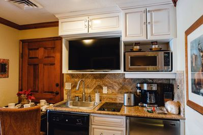Fully stocked Kitchenette! All the appliances and utensils you could need