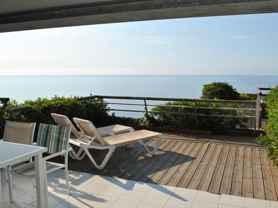 Photo for Seaview terrace apartment in Cap d'Ail, sleeps 4-6, 5 minutes from Monaco
