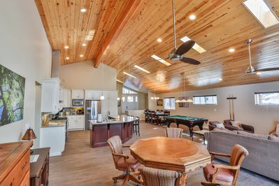 Great Room - kitchen, dining, pool table, poker table, living room