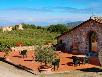 Photo for Apartment with pool, A/C, WIFI, TV, pets allowed, panoramic view, parking, close to Greve In Chianti