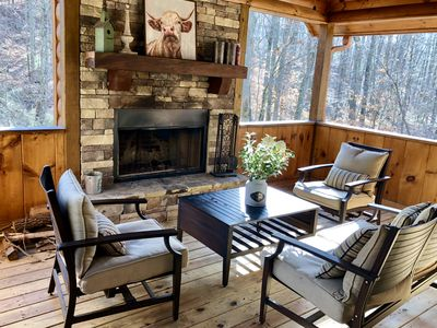 Photo for NEW! Ledger Creek Cabin, Creekside, Hot Tub, Pool Table, Outdoor fireplace