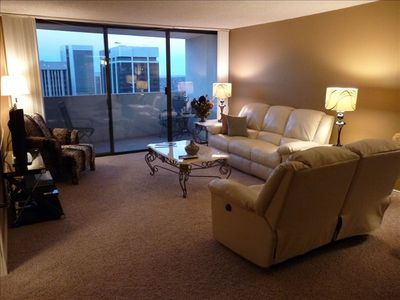 Living Room with full wall floor to ceiling glass on 34th floor