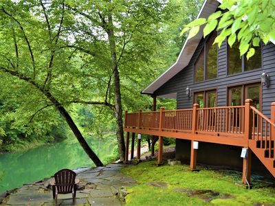 Photo for Kingfisher's Roost- Waterfront Cabin w/Private Dock, Ramp & Hot Tub- Bryson City