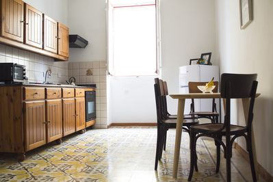 The kitchen dining area.