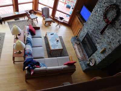 Looking down from loft to living room