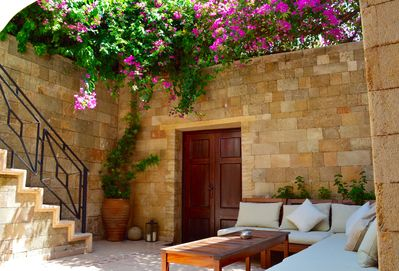 Traditional yard with sitting areas...