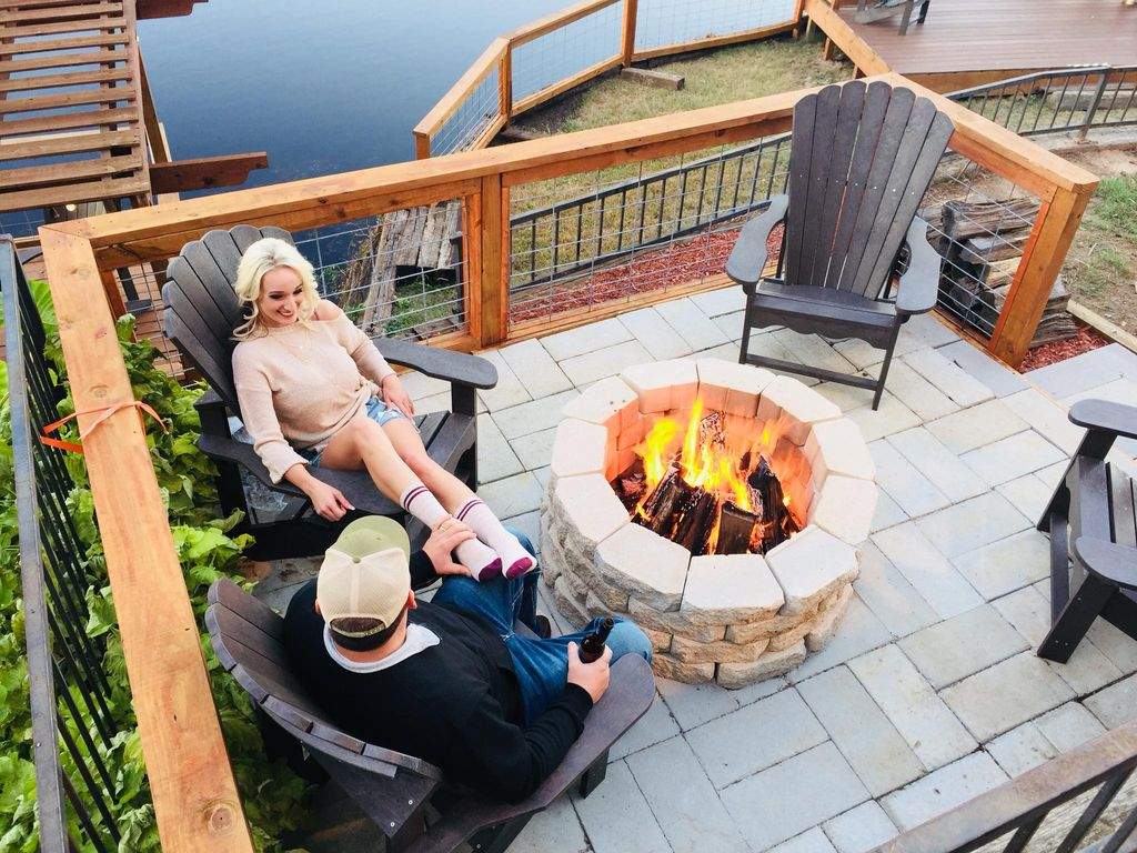 Cozy Warm & Toasty fire pit deck for 2 or 10, s'mores are on the menu.