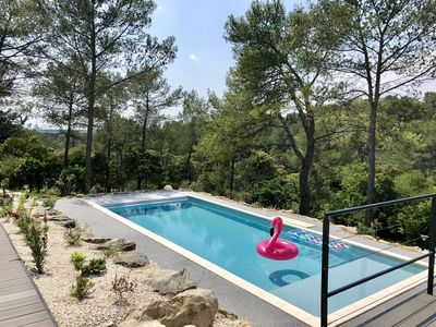 Photo for Superb architect villa with pool in the heart of the Nîmes garrigue
