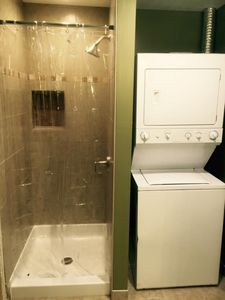 Our large bathroom with washer and dryer is great for longer stays!