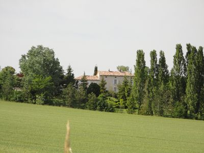The manoir from across the fields. A green oasis