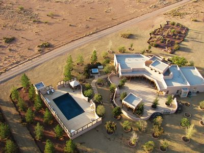 Arial view of Main House, Courtyard and Pool.