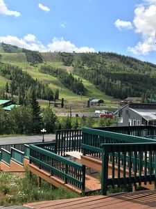 View from out side the unit to the ski lifts with 3 layer decks