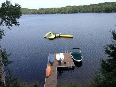Water Trampoline, Two Stand up paddle Boards, Canoe and Kayak