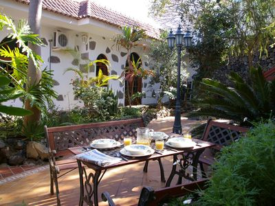 Photo for Traditional Canarian sea view 4-bed house set in a walled sub tropical garden