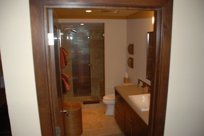 Hall bathroom, single sink stand up shower