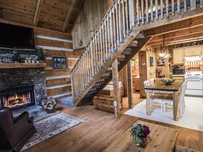 Photo for Rustic Pigeon Forge log cabin near everything