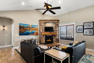 "Great Room. Come relax with the fireplace and 50"" smart TV"