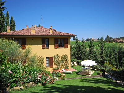 Photo for Chianti Classico Siena Florence Apartment garden and swimming pool in natural park