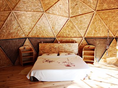 Photo for Geo Dome nestled in pine forest among Catalan mountains