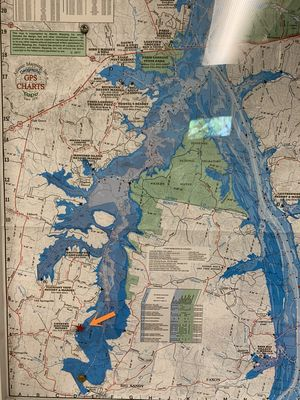 the house is were the star and arrow are on this map of kentucky lake