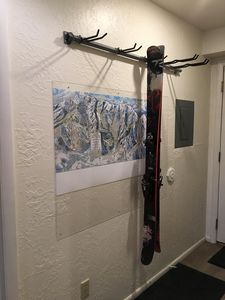 Ski rack and enlarged map of Park City Mountain.