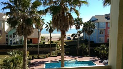 View from condo balcony of the Gulf of Mexico and pool