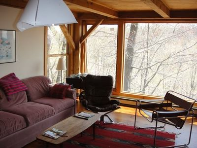 The living room, in winter -- like living in a tree house in the summer.