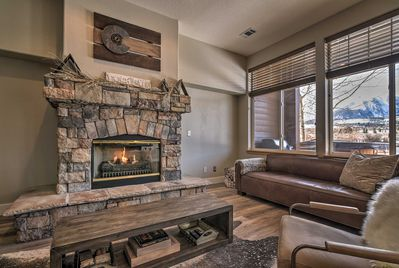 The home is detailed with mountain-modern furnishings and decor.