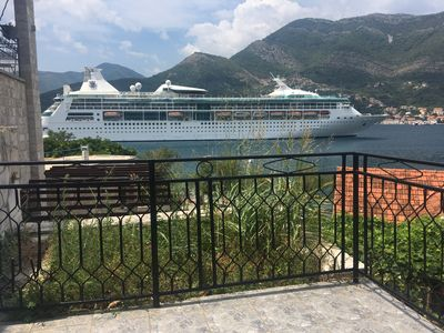 watch the cruise ships go by view from balcony