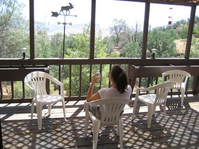 Enjoy the crisp mountain air and refreshing views from the spacious back deck.