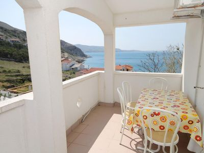 Photo for Studio flat with terrace and sea view Metajna (Pag)